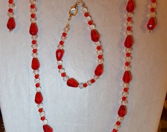 Red & Clear Jewelry Ensemble includes necklace, bracelet and earrings
