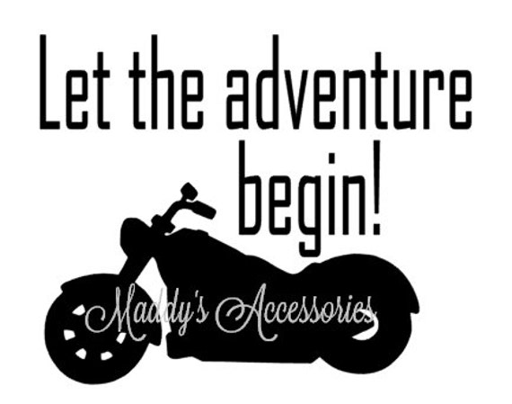 Iron on decal - Let The Adventure Begin - motorcycle - baby / child clothing accessory