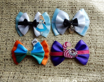Alice in Wonderland Bows, Alice Bow, Mad Hatter Bow, Cheshire Cat Bow