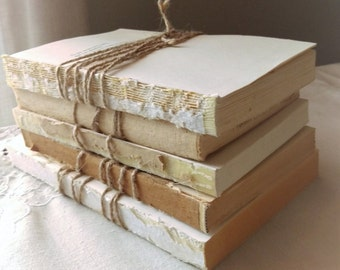 FREE SHIPPING Set of Five, Neutral unbound books without covers, wrapped in twine, designer photo prop, wedding centerpiece, waving-sabi
