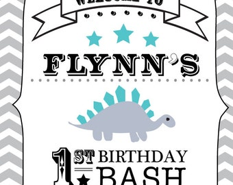 Dinosaur 1st Birthday Bash Poster - Custom made Digital Printable poster - choose your own size