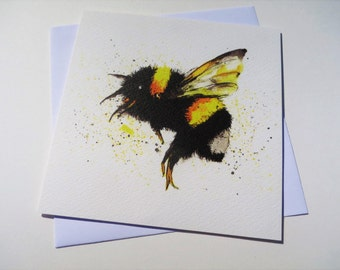 Bumble Bee Square *Greetings Card* blank inside