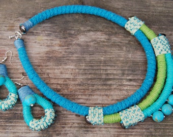 Rope statement necklace and earrings Bib necklace Boho Eco Jewelry OOAK Ethnic necklace Turquoise Green California Beach