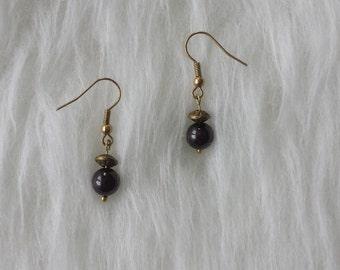 """Garnet"" gold earrings"