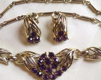 Necklace and Earring Set-Purple Rhinestones Vintage 1960s