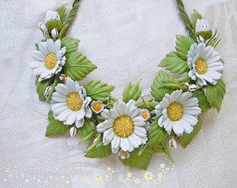 Leather flower Jewelry set Set 2 piece Daisies earrings Flower leather necklace Leather jewelry Flower Daisies necklace  Gift for women