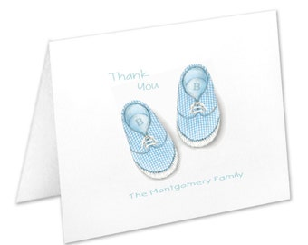 Personalized Baby Boy Shoes Note Cards, Stationery Set, Birth Thank You Cards, New Baby Boy, Blue Baby Shoes, Stationary Set, Baby Notecards