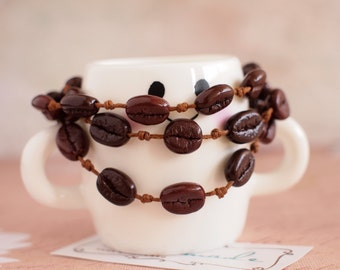 Bracelet with coffee beans Woven coffee beans bracelet Coffee lovers