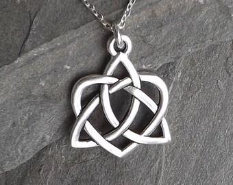 Celtic Open Heart Necklace / Large Silver Celtic Heart Knot Necklace / Silver Heart / Sterling silver chain