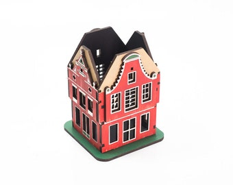 Desk storage for crafts, collectible miniature Amsterdam house. Office desktop organizer, stationery & pen holder