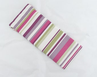 Stripey Glasses Holder/ Glasses Case/ Sunglasses Case - pink, purple, lime green, cream stripes