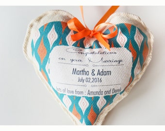 Personalized wedding gift,Congratulations on your marriage,hanging heart ,personalised heart, heart wishes, fabric heart , wedding heart