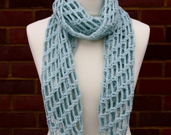 Lightweight Spring/Summer Knit/Crochet Scarf in Duck Egg Blue