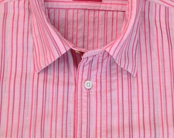 Vintage pink with red striped casual short sleeve summer shirt by Ozwald Boateng in 100% cotton