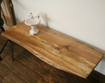 Coffee Table / Side Table / Live Edge / Elm / Hairpin Legs