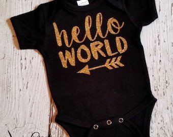 Hello World - Gold Glitter Bodysuit - Coming Home Outfit - Gold Glitter Shirt - Baby Girl Trendy Bodysuit - Black And Gold Outfit