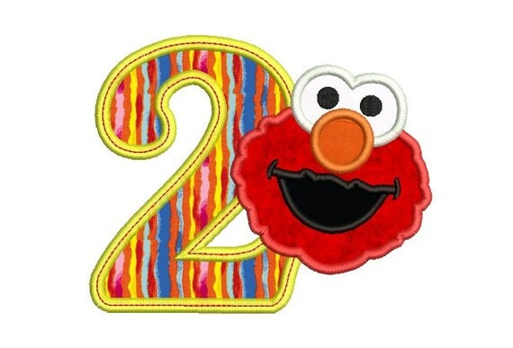 Elmo Birthday 2 Applique Design Birthday by MyMemoryDesign