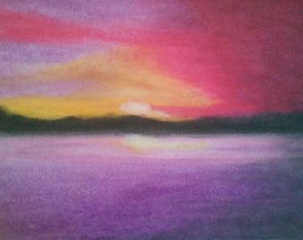Sunset,  Original Oil Pastel 9x12 Painting
