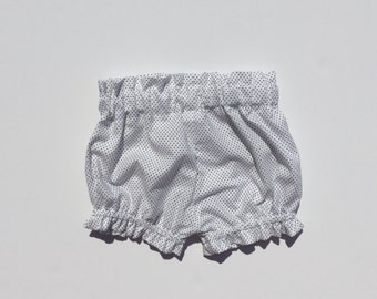 Baby Bloomers - white black polka dots - sizes 0months - 2T