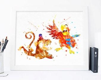 Abu and Iago poster, Disney aladdin birthday, aladdin party, aladdin art, aladdin printable, ...