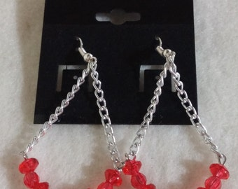 Red Glass Beads Pearls Chain Earrings