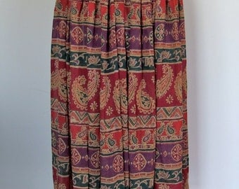 1970s Festival Hippie, Boho gathered waist, gauzy maxi skirt sheer fabric