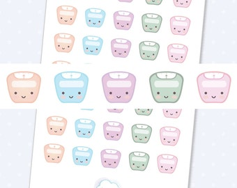 Scale planner stickers, cute scales planner stickers, kawaii scale stickers - 35 cute planner stickers kawaii weight scale