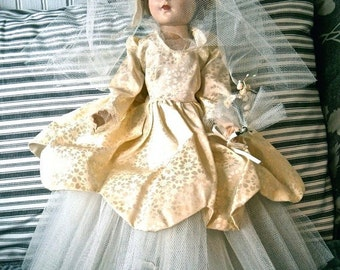 Vintage Bride Walking Doll & 2 outfits