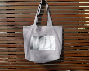 Grey Flannel and Cotton Large Beach Tote
