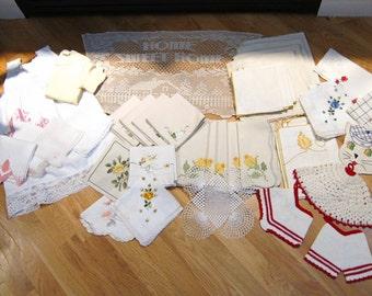 Lot 41 Vintage Linens Handkerchiefs Doilies NapkinsTowels Pot Holders Hankies Lace