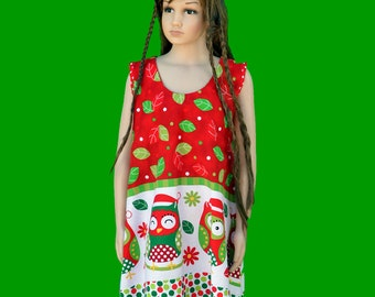 Christmas dress - Girl's Christmas dress -  Christmas owl dress - Owl dress - Christmas party dress - Holiday dress - Christmas outfit