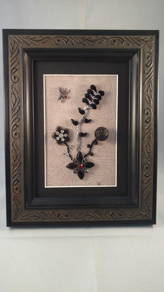 Vintage Framed Jewelry Art Home Decor Family Heirloom Art