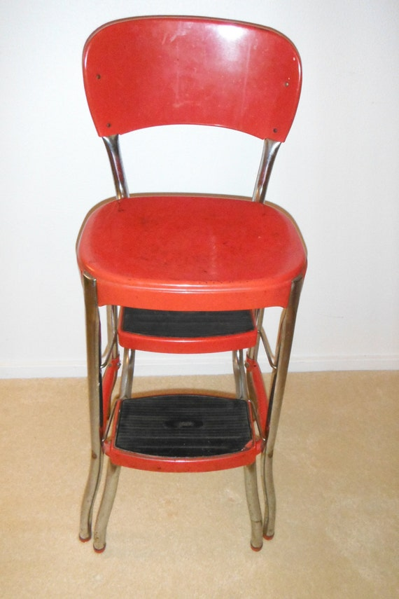 Red Cosco Stylaire Step Stool Chair Vintage Retro