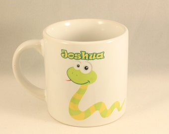 Personalised Childrens Mug - Zoo Design with cartoon Snake personalised with childrens name