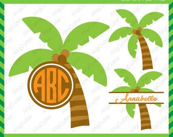 Palm Tree Monogram Split Frames SVG DXF PNG eps Summer Cut Files for Cricut Design, Silhouette studio, Sure Cut A Lot, Makes the Cut