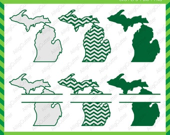 Michigan State Pattern Split Monogram Frame SVG DXF PNG eps Cut Files for Cricut Design, Silhouette studio, Sure Cut A Lot, Makes the Cut
