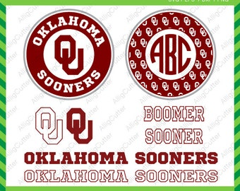 Oklahoma Sooners Monogram Frames SVG DXF PNG eps college football Cut Files for Cricut Design, Silhouette studio, Sure Cuts A Lot, Makes cut
