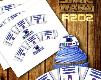 Star Wars Cupcake Wrapper, BB-8 Cupcake Wrappers, R2D2 Cupcake topper, The Force Awakens, Star Wars, Digital Cupcake Toppers, Printable R2D2