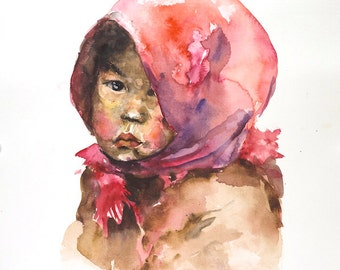 Original watercolor portrait of little Hmong girl from Vietnam