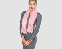 Real Rabbit Fur Scarf, Pink Neckwear, Dyed Rabbit Fur With Fashionable Endings, Wrapping, Stole