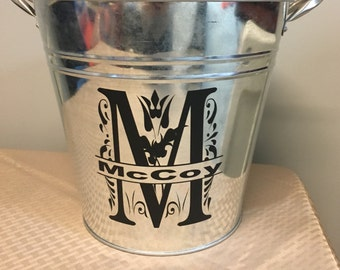 Monogrammed Tin Bucket Label / This listing is for label only