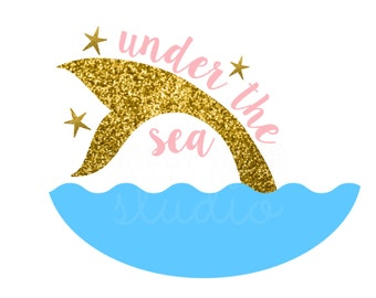 Under the Sea Little Mermaid Tail Ariel with Gold Glitter Iron On Vinyl Decal Glitter Vinyl Matching  Iron On Vinyl Decal for Tshirt