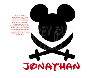 Personalized Pirate Sword Mickey Mouse Matching Family Disney Vacation Pirates of the Caribbean Disney Iron On Decal Vinyl for Shirt 057