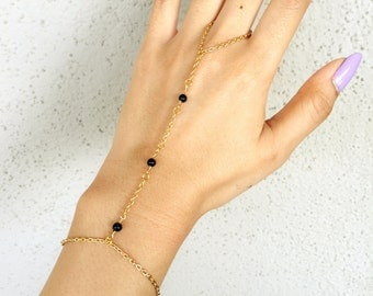 3 Black Beaded Gold Hand Chain Handlet