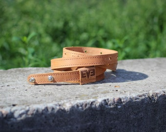 Leather woman's belt, woman belt, handmade belt for woman, blue belt with Clasp for holster