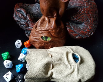 Leather Dice bags/Coin Pouch with Dragons Eye  Handmade.