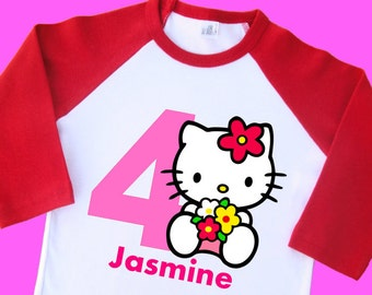 Hello Kitty Birthday Shirt. Personalized Raglan with Name & Age. 1st 2nd 3rd 4th 5th 6th 7th 8th 9th Birthday T Shirt, Tshirt, Tee.  (35038)