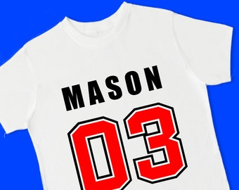 Football Number Jersey Tee. Personalized Birthday T Shirt with Name, Age or Number. 1st 2nd 3rd 4th 5th 6th Birthday. (15082)