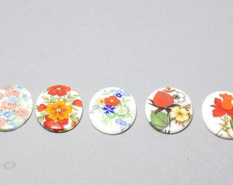 Vintage Floral, Flat Back Cabochons, Porcelain Paintings 40x30.