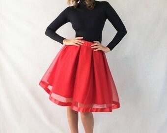 Red Tulle Skirt w/ Satin Hem - The Holly Skirt